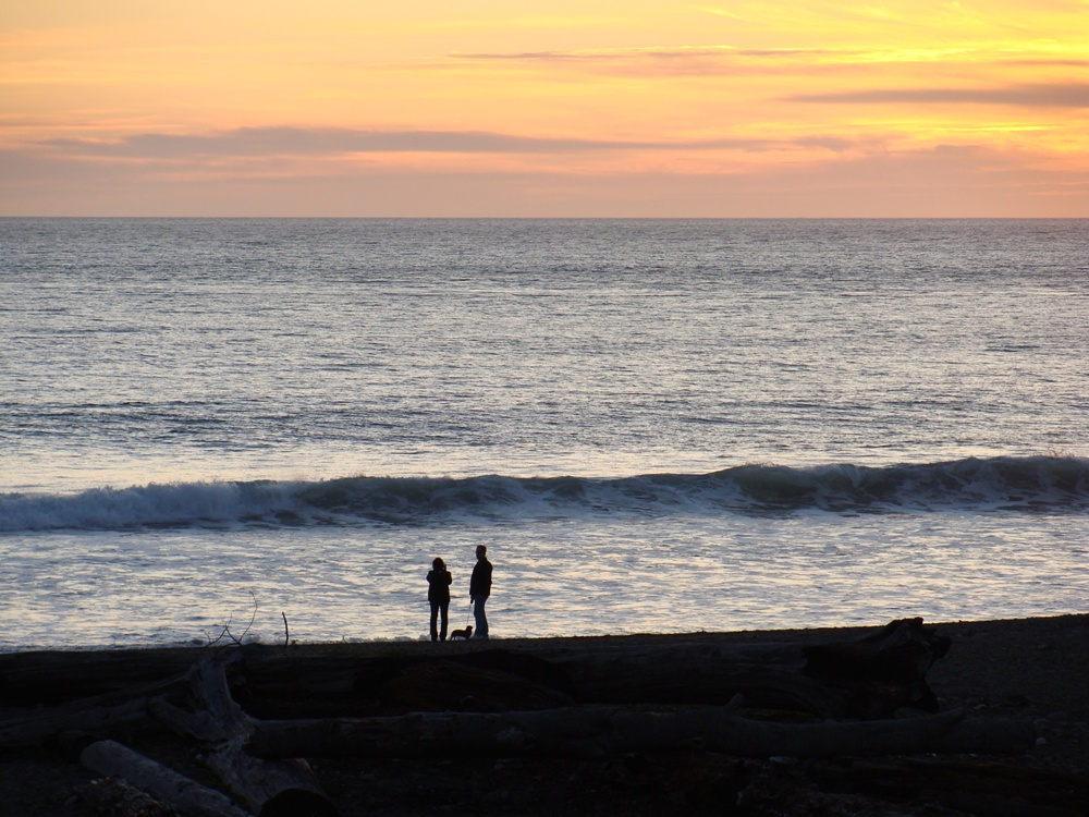 Photo of couple and canine on the beach at sunset